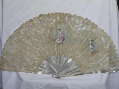 Antique Handmade Lace Leaf Fan-Mother of Pearl Sticks