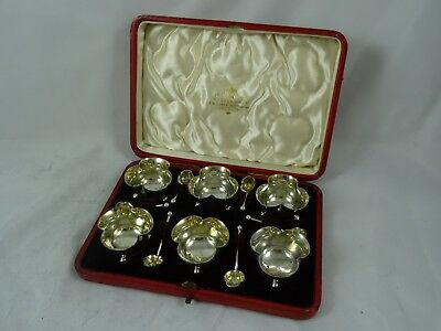 STUNNING boxed EDWARDIAN set x 6 solid silver SALTS & SPOONS, 1901