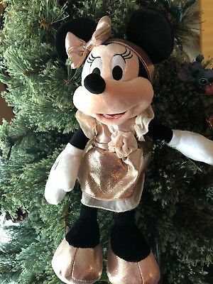 Disney World Rose Gold Minnie Mouse Plush Stuffed Plush With Ears Bow New
