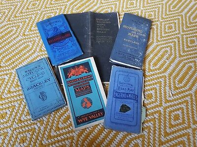 6 Vintage Motoring And Cycling Road Maps On Cloth