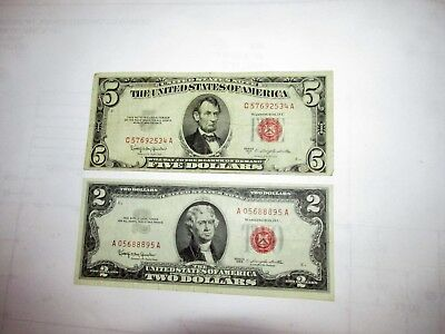$2 U.S. Red Seal Note 1963 XF Condition / $5 1953 C  ...........12-11-27