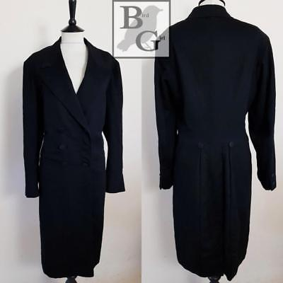 Original 40S Vintage Black Wool Dapper Gents Goth Steampunk Indie Frock Coat 44""