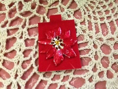 New on Original Card #6 Vintage Christmas Poinsettia Pin with Jewels in Center