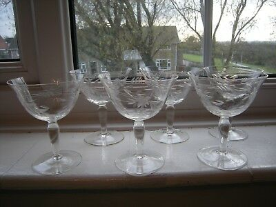 Six X Vintage (Possibly 1920's)  Etched Champagne Saucers ( Ring When Tapped)