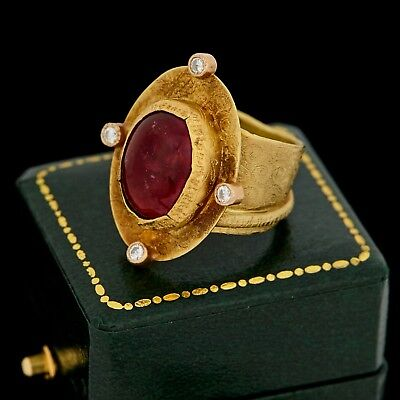 Antique Vintage Deco Retro 18k Gold Etruscan Tourmaline Diamond Band Ring S 8.25