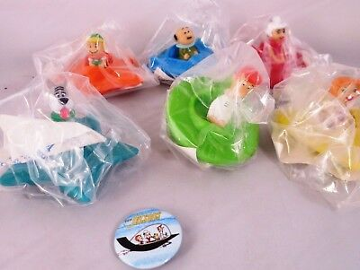 7 Pc 1989 Jetsons Cartoon Collectors Lot Wendy's Space Vehicles, 1983 Pin Button
