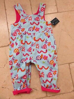 NEW Seesaw Girls reversible dungarees Pink cord & blue bug print sz 1 - 2 Yr NWT