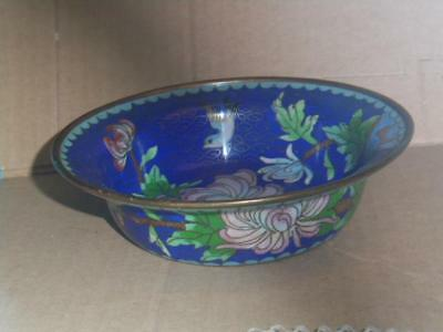 Vintage Oriental Cloisonne Bowl/dish Decorated With Flower And Bird