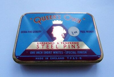 BNWOT Vintage 1950's 'Queen's Own' Dressmaking Pins in Original Tin Deadstock
