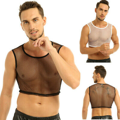 Mens Mesh Crop Top Vest See Through Muscle Fishnet Tank Short Shirt Clubwear Gym