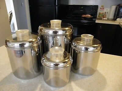 VTg Revere Ware Stainless Steel 4 Pc. Canister Set with Lids Estate find