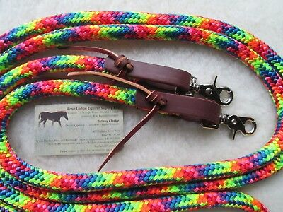 Rose Lodge 8' RAINBOW Trail Barrel Roping Yacht Rope Loop Reins Leathers USA !