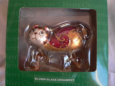Blown Glass Cat Ornament moveable Legs