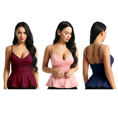 Women Adjustable Casual Strappy Camisole Wrap Peplum Cami Tank Top V-Neck Vest