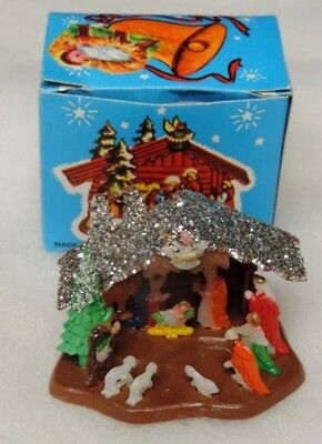 Vintage Miniature Shiny Brite?  Nativity Scene In Box #300 Made In Hong Kong