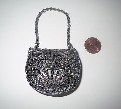 Antique Sterling Silver Filigree MINIATURE PURSE - REAL OPENING