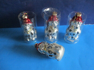 4 Lg. Glass Christmas Tree Ornaments DALMATIANS WITH FIREMEN'S HATS ON 6""