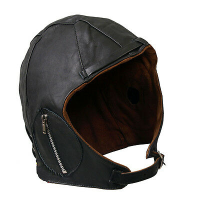 Aviator Cap Motorcycle Hat Black Leather Vintage WWII 2XL