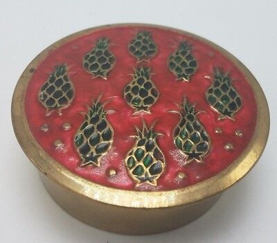 Vintage INDIA Solid Brass Enamel Pineapple Small Trinket Box
