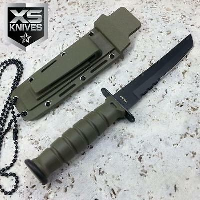"""6"""" Tactical Green Fixed Blade Military Combat Hunting Survival Knife w/ Sheath"""