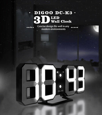 Digoo Digital 3D White LED Wall Clock Alarm Clock Snooze 12/24 Hour Display