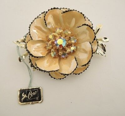 Vintage Large 1950 Coro Enamel Brooch with Swing Tag 80mm or 3 1/4 inch