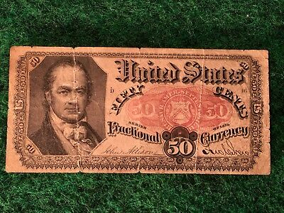 1875 U.S 50 Cent Fractional Currency Note William Crawford Fifth Issue Nice Cond