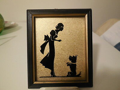 Vintage SIlhouette framed,  woman with Scotty dog