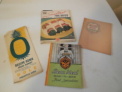 Four Vintage Recipe Booklets, Pineapple, Sealtest, Beau Ideal, Anglo Corne Beef