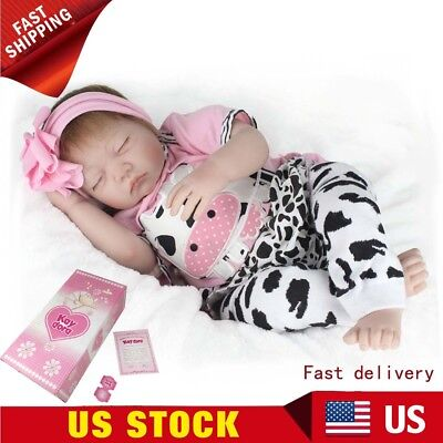 "22"" Handmade Xmas Gifts Reborn Baby Dolls Sleeping Silicone Girl Doll Toddler"