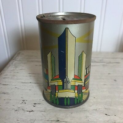 Vintage 1934 World's Fair Bank Century of Progress Tin Can