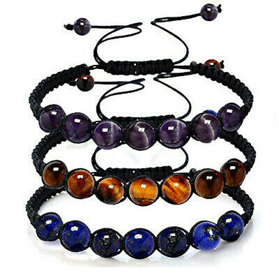 7 Chakra Healing Balance Beaded Bracelet Braided Stone Yoga Reiki Prayer