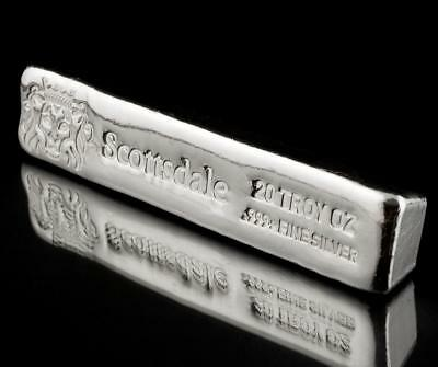 20 oz Silver Bar by Scottsdale Mint - Long Cast .999 Fine Silver Bullion #A397