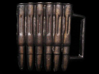 IE11136 VINTAGE 1970s CUT-OUT ***RIFLE ROUNDS*** CARTRIDGES BULLETS BUCKLE
