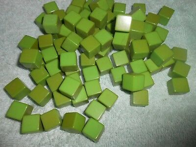 "160 Vintage Bakelite Apple Green  1/2"" Sq Cubes 453.59 Grams 1 Pound"