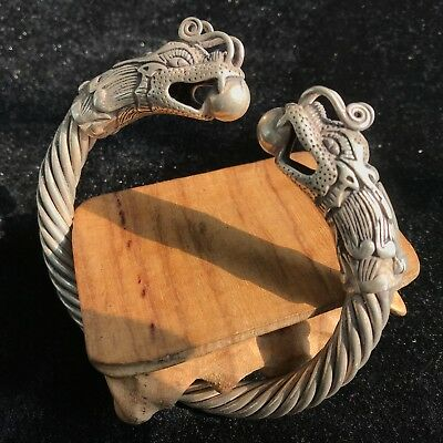 Old Collectible Chinese Tibet Silver Handwork Lovers Dragons Antique Bracelet