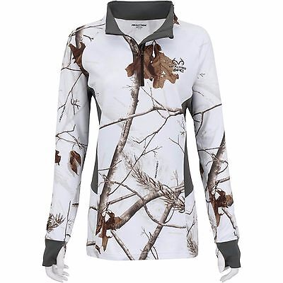 NEW Realtree Women *Med**Large* White Snow Camo Thumb Jacket Shirt 1/4 Zip