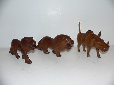 3 EA.Hand Carved  Wooden Figurines Lion King Of The Jungle 2 Ea. Wart Hog 1 Ea.