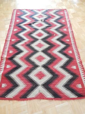 46x70.5 ANTIQUE VINTAGE NAVAJO INDIAN POST TRANSITIONAL DAZZLER RUG GREAT COLORS
