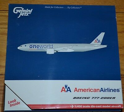 Gemini Jets 1:400 Diecast Airplane American Airlines One World Boeing 777-200ER