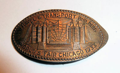 Elongated Cent Century Of Progress 1933 Chicago TRAVEL & TRANSPORT Building