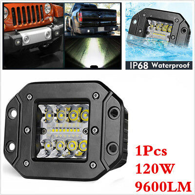 5Inch 120W CREE LED Spot Flood Work Light Pods Flush Mount Offroad Driving Lamp