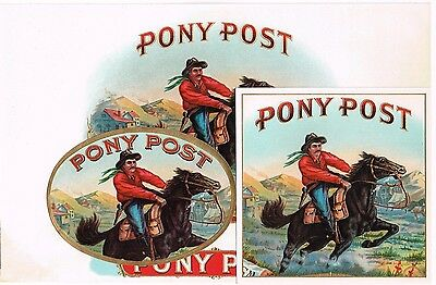 Cigar Box Label Vintage Set C1920 Original Embossed Pony Post Us Mail Express
