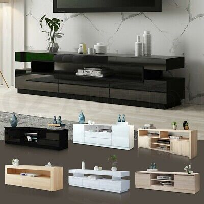 Modern TV Stand Entertainment Side Unit 2 Doors Wooden Storage Cabinet Furniture