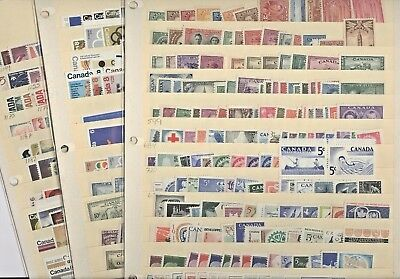 CANADA, Excellent Assortment of MINT(Hinged, NH) Stamps in 3 Stock sheets