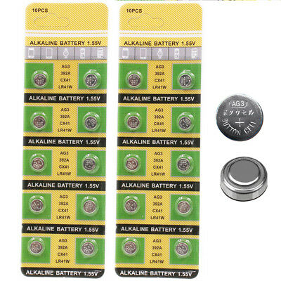 10pcs AG3/LR41/392A Button Cell Coin Alkaline Batteries 1.55V Watches