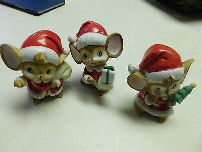 Vintage Homco Christmas Mice (set Of 3) cute holiday find