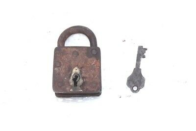 1900s Old Vintage Antique Rare Iron Brass Lock and Key Collectible PC4