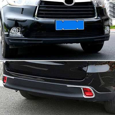 Chrome Front Rear Fog Light Cover For Toyota Highlander Kluger 14-16 Trim Bezel