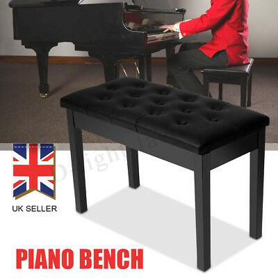 Double Person Leather Piano Wood Bench Duet Storage Keyboard Stool Padded UK